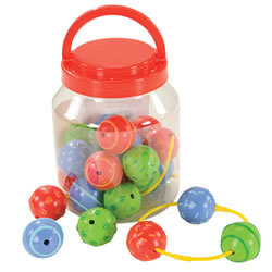 "12 months & up. Big beads are easy to hold and string. Each bead has a different pattern and texture to touch and explore. Beads measure 1 3/4"". Includes four 7 1/2 inch laces. Set of 23 beads."