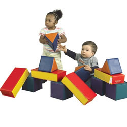 "18 months & up. Our extra large vinyl blocks are perfect for toddlers to stack and build. Extremely lightweight and easy to hold, very durable and wipe to clean or disinfect. The foam and the vinyl meets California fire retardant standards TB117. Includes a 2 year warranty. Block set includes four 6"" square cubes, four 5 1/2"" triangles, and four 11"" x 3"" rectangles."