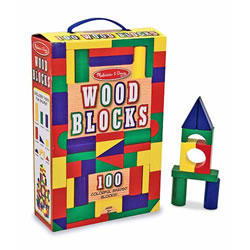 3 years & up. Colorful hardwood blocks come in four colors and nine shapes, encourages big construction adventures! Your little builder will delight in stacking, building, and knocking down in countless colorful combinations, and you'll know your child is gaining invaluable practice with fine motor skills and dexterity, color and shape recognition, and pre-math skills. Non-toxic finish. 100 piece set.