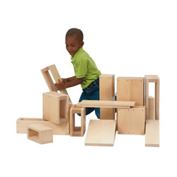 "This scaled-down version makes it easy to handle these hollow blocks. They will last through toddlers' building explorations! Smooth finish and rounded edges for safety. Contains 16 pieces consisting of 1 double ramp(16"" x 4"" x 8""), 1 single ramp(8"" x 4""x 8""), 2 large doubles(16"" x 4"" x 8""), 4 small doubles(8"" x 4"" x 8""), 4 small singles(8"" x 4"" x 4""), 2 large singles(16"" x 4"" x 4""), and 2 bridge boards(16"" x 3/4"" x 4"")."