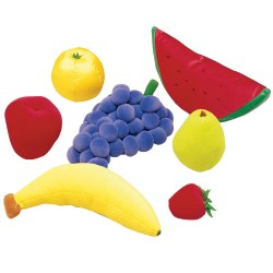 18 months & up. Now toddlers can have their own play food. Soft fabric over foam. Seven-piece fruit sets. Surface wash.