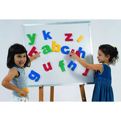 "Big easy to handle and easy to read letters. Each brightly colored letter is approximately 5"" high and magnetized on the back. Works great on our magnetic white boards or felt boards."