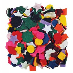 Fuzzy textures in pre-cut shapes. Fun designs. Perfect for gluing or the flannel board art projects. 500 pieces per package. Made in the USA.