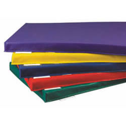 "Set of 4 mats!  Bright, vivid colors make nap time more appealing! This flame-retardant mat is covered with tough, washable vinyl and filled with 2"" flame-retardant urethane foam. This mat meets California TB 117 fire code specifications. Individual name card holders are attached to each mat for ease of identification.  Individual mat dimension: 45""L x 23""W x 2"" thick."
