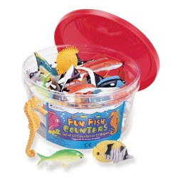 "3 years & up. These counters turn sorting and counting activities into exciting adventures. Soft rubber counters in 6 colors packed into a reusable plastic tub. Suggested activities also included. Fish measure approximately 2 1/2"". Set of 60."