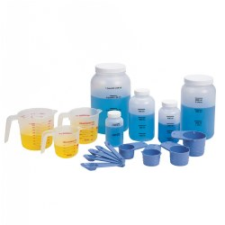 Grades 1 - 6. This deluxe set is the perfect size for any classroom learning measurement equivalents. Made of durable plastic, each piece is clearly marked to provide years of use. Set consists of 17 pieces including liquid measuring cups, spoons, jars and a teachers guide.