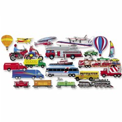 "3 years & up. Children will enjoy getting around with this felt set! This set includes fire engine, bus, train, cars, ships, hot air balloons, sailboats, planes & more. Pieces measure 1"" to 6"" tall. Felt Fun sets are easy to use and are a great way children to play! Made in the USA."