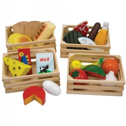"3 years & up. Mix and match food groups to make a well balanced meal. Each piece is made of wood, painted with beautiful detail, and boxed in a 4"" x 6"" wooden crate for sorting and stacking."