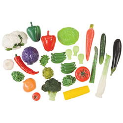 3 years & up. This life like vegetable set has 28 pieces and comes in a clear container for convenient storage.