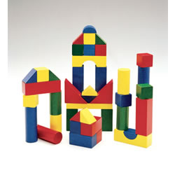3 years & up. This 200-piece, colorful, hardwood block set comes in lots of shapes and sizes to encourage big construction adventures! Why not promote your child's hand-eye coordination, color and shape recognition, counting and sorting, and spatial relationships while they play? It will be a timeless playroom staple that provides an exciting new way to learn.   Product is non-toxic.