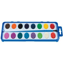 16 Color Washable Watercolor Paint Trays - Includes 12 Trays