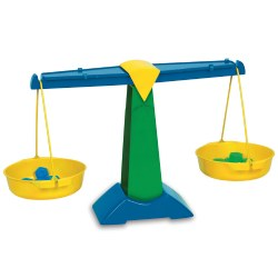 "3 years & up. Teach weight, measurement and grams with this strong, durable, plastic balance. Detachable buckets with sliding compensators for zero adjustments. Includes five each of 5 gram and 10 gram Hexagram® weights. 24 1/2""L x 8 1/2""W x 14""H."