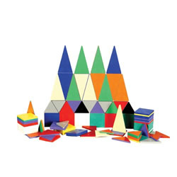 3 years & up. These magnetic tiles teach spatial relationships, math, logic, and problem-solving through creative building! The tiles attract on all sides and in all combinations, helping children move from two-dimensional to three-dimensional creations. Unbreakable set includes square and triangular tiles in a variety of sizes.