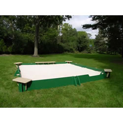 10' x 10' Sandbox with Cover - 4 Corner Seats