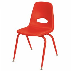 "Nature Color Tapered Leg Stackable 17 1/2"" Teacher Chair - Red"
