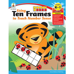 Grades K - 1. Teaching number sense has never been so much fun! Engage your students with this full-color reproducible book. Included is a how-to for using ten-frames, plus lessons and activities for centers and whole groups. Each ten-frame mat represents the numbers 5, 10, or 20 and features whimsical characters and matching counters that will enchant learners. 64 pages.