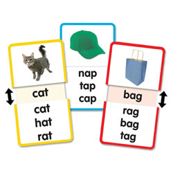 Grades K - 2. More than just simple flash cards, these interactive cards make learning fun! Slide the card open to reveal the correct answer. Images appear on both sides of each of the 13 cards, providing 26 learning activities in each box.