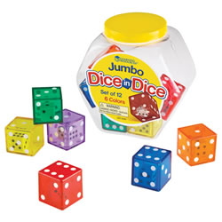 Jumbo Dice in Dice Set - Set of 12