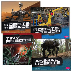 Grades K - 2. Science, engineering, and technology are the driving forces behind robotics. The youngest readers get an early introduction to STEM in the cool Robots set. From a robotic pet dinosaur to the Mars rover, robots do all kinds of amazing work. Each book has large, colorful photographs of the featured robots. Set of 4 paperback books have 24 pages each.