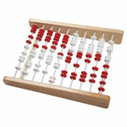 "Demonstrate addition and subtraction up to 100. Large counting frame features 100 plastic beads in red and white on 10 rails (color change after every five beads). 16"" x 20""."