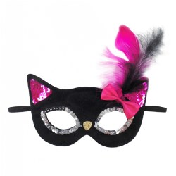 Black Glitter Black Kitty Mask