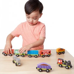 Wooden Magnetic Train Cars (Set of 8)