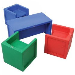 Versatile Seating Group of Cube Chairs and Bench