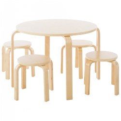 Natural Color Nordic Table and 4 Stools