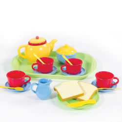 3 years & up. This set includes everything you need to serve a tea party. 22 pieces.