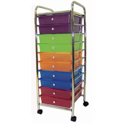 "These organizers hold a wide assortment of items. Fits conveniently into small spaces and has swivel casters including two that lock. Easy to assemble - tools and instructions are included. Drawer dimensions 11 1/4""W x 15""D x 3'H. Measures 13 1/4""W x 15 1/2""D x 39""H."