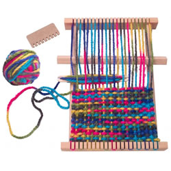 "7 years & up. Each kit comes with a 10 1/4"" x 11 1/4"" wooden weaving loom, 100 yards of bright thick rainbow-colored yarn, accessories, weaving needle, stitching needle, loom comb, and easy-to-follow instructions."