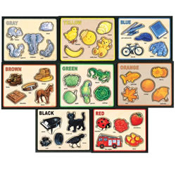 Basic Color and Word Wooden Puzzles - Set of 8