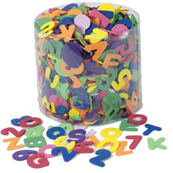 "4 years & up. One-half pound of bright, colorful WonderFoam letters and numbers in a clear plastic storage tub. Pieces are thick enough for easy use by small hands and are made out of non-toxic material. Approximately 1"" tall. (Pieces are NOT magnetic)."