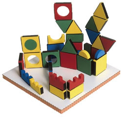 Magnetic Building Shapes and Board - 54 Pieces