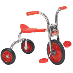 "2 - 3 years. Seat: 13 1/2""H. Handlebar: 20 1/2""H.Trike has a Comfort back support  and a heavy-duty rubber handle-grip. The trike is well made with durable chrome plating, welding steel frame and solid rubbler tires. There are no exposed hardware on pedals to sctratch little legs and no spokes to catch little feet."