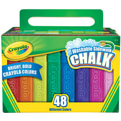 4 years & up. 48 bold colors with a new anti-roll shape - perfect for drawing fine lines or broad strokes. Compatible with Crayola® outdoor chalk tools.