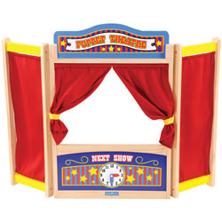 3 years & up. Compact theater sets up in minutes! With chalkboard marquee and closeable curtain. Folds flat for easy storage. Some assembly required.
