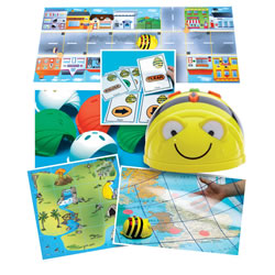 3 years & up. Use this Bee-Bot® Starter Pack as an exciting way to introduce sequencing to children. This set has a range of materials guaranteed to keep you busy for hours, planning routes and courses and creating your own mat designs. Includes: 1 rechargeable Bee-Bot®, 4 activity mats (Treasure Island mat, 2 transparent grid mats, and Busy Street mat), 49 sequence cards, and a USB cord to reacharge the Bee-Bot® on any computer. One-year warranty.