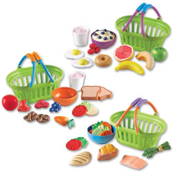 2 years & up. Help children learn to make healthy choices at every meal. These baskets featuring Breakfast, Lunch, and Dinner are perfect for instilling healthy eating habits at an early age. Each meal stores in its own basket and contains realistic, familiar food items which are soft and durable.