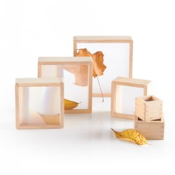 "2 years & up. These versatile hardwood-framed stacking blocks have six blocks sized 2"" to 7"". Each block has a different magnification for limitless science exploration. Perfect for outside discovery and block play."