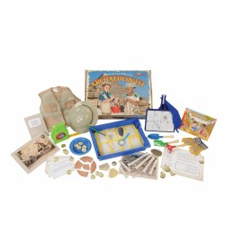 "3 years & up. This complete archaeologist STEM kit offers over 40 archaeologist materials including tools, artifacts, and uniform, including a safari hat (measures 4.5""H x 10.95""W x 9.90""L). Children can step into the role of scientist when they participate in a small scale dig using the shovel and rake to find items such as bones, plate pieces, and fossils. The grid and grid numbers help children as they chart and record the items into the artifact journal. Continue the journey into STEM discovery with the challenge and literacy cards that offer activities, tips, and ideas to extend the scientific learning across all domains. Learning is further enhanced with two included song downloads and archaeologist book."