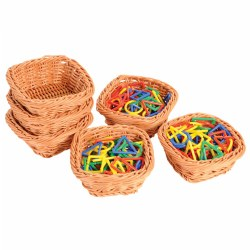 Square Plastic Woven Baskets - Set of 6