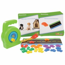 3 years & up. Children will be introduced to math concepts such as length, volume, weight, distance, and temperature with the materials and activities in this toolbox. Children will engage in hands-on math activities encouraged by eight interactive cards, road ruler, tape measure, and a set of manipulatives that incorporate all the listed math skills and more.