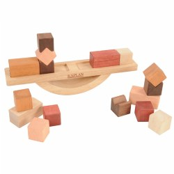 This 17-piece Wooden Block Balance set provides a hands-on STEM experience featuring cubes, rectangles and notched squares to creatively stack on the curved balance board. Explore and experiment by arranging the blocks on each side of the board to evenly distribute weight to achieve a balanced result. Children will develop STEM-based skills such as spatial sense, estimation, reasoning, probability, and the concepts of none, more, less, most, smaller, smallest, bigger, biggest. Included: Balance Board, 8 Cube Blocks, 4 Rectangle Blocks, and 4 Notched Square Blocks.