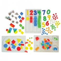 3 years & up. Introduce early math, science, and literacy concepts, as well as fine motor skills, in a fun and engaging way by utilizing included materials on your light table. Over 200 pieces including transparent numerals, 2 and 3 dimensional shapes, circular dots, and bead-filled shapes - all in a variety of colors!  Three sorting trays and an activity guide are also included!