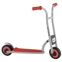 "3 - 5 years. The small 2-Wheel Scooter uses two solid wheels to encourage a sense of balance and blooming motor skills. Children gain a feeling of safety and security as they learn to use the foot-operated rear brake to come to a gentle stop. Measures 31""L x 19""W x 26""H."