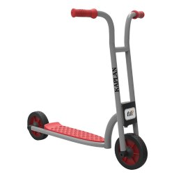 "5 - 8 years. The large 2-Wheel Scooter uses two solid wheels to encourage a sense of balance and blooming motor skills. Children gain a feeling of safety and security as they learn to use the foot-operated rear brake to come to a gentle stop. Measures 31""L x 19""W x 32""H."