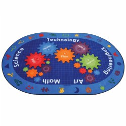 Complete your classroom STEM area with a vibrant carpet illustrating the scientific method. Multiple STEM based icons decorate the border while gears and inquiry prompts fill the center.