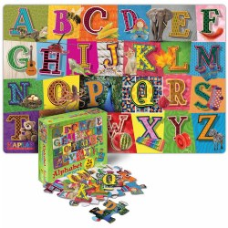 "3 years & up. Develop letter recognition and build fine-motor skills at the same time with this fun floor puzzle! Learning the ABC's will be F-U-N with these whimsical letters and colorful, real-life photos. Children will love the up-close, vivid images representing all the letters of the alphabet. This large 24-piece real photo puzzle is made of extra-thick durable cardboard with a wipe-clean surface. Puzzle insert included. Measures 24"" x 36"". Made in the USA."
