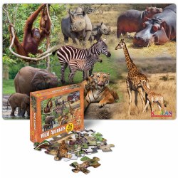 Wild Animals Mother and Baby Photo Real Floor Puzzle - 24 Pieces